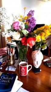 mesa de trabajo flores